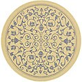 Indoor/ Outdoor Resorts Natural/ Blue Rug (6'7 Round)