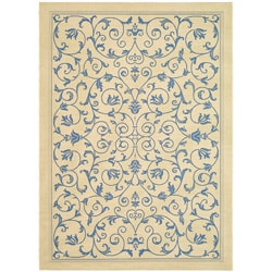 Indoor/ Outdoor Resorts Natural/ Blue Rug (7'10 x 11')