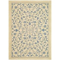 Safavieh Indoor/ Outdoor Resorts Natural/ Blue Rug (7'10 x 11')