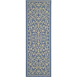 Indoor/ Outdoor Resorts Blue/ Natural Runner (2'4 x 6'7)