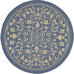 Safavieh Indoor/ Outdoor Resorts Blue/ Natural Rug (5'3 Round)