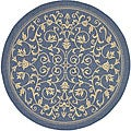 Indoor/ Outdoor Resorts Blue/ Natural Rug (5'3 Round)