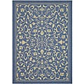 Indoor/ Outdoor Resorts Blue/ Natural Rug (6'7 x 9'6)