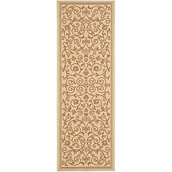 Safavieh Indoor/ Outdoor Resorts Natural/ Terracotta Runner (2'4 x 6'7)