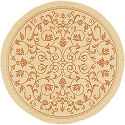 Indoor/ Outdoor Resorts Natural/ Terracotta Rug (6'7 Round)