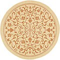 Safavieh Indoor/ Outdoor Resorts Natural/ Terracotta Rug (6'7 Round)