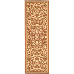 Safavieh Indoor/ Outdoor Resorts Terracotta/ Natural Runner (2'4 x 6'7)