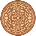 Safavieh Indoor/ Outdoor Resorts Terracotta/ Natural Rug (5'3 Round)