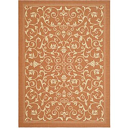 Safavieh Indoor/ Outdoor Resorts Terracotta/ Natural Rug (2'7 x 5')