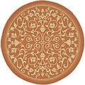 Indoor/ Outdoor Resorts Terracotta/ Natural Rug (6'7 Round)