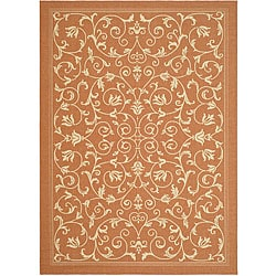 Indoor/ Outdoor Resorts Terracotta/ Natural Rug (9' x 12')