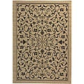 Indoor/ Outdoor Resorts Sand/ Black Rug (5'3 x 7'7)