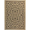 Indoor/ Outdoor Resorts Sand/ Black Rug (9' x 12')