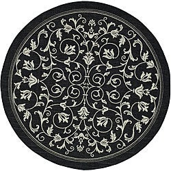 Indoor/ Outdoor Resorts Black/ Sand Rug (5'3 Round)