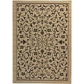 Indoor/ Outdoor Resorts Sand/ Black Rug (4' x 5'7)