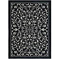 Safavieh Indoor/ Outdoor Resorts Black/ Sand Rug (6'7 x 9'6)