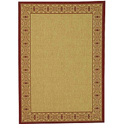 Indoor/ Outdoor Oceanview Natural/ Red Rug (9' x 12')