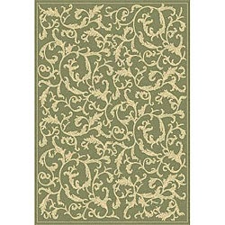 Indoor/ Outdoor Mayaguana Olive/ Natural Rug (5'3 x 7'7)