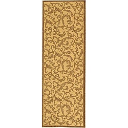 Indoor/ Outdoor Mayaguana Natural/ Brown Runner (2'4 x 6'7)