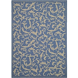Safavieh Indoor/ Outdoor Mayaguana Blue/ Natural Rug (2'7 x 5')