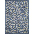 Indoor/ Outdoor Mayaguana Blue/ Natural Rug (6'7 x 9'6)