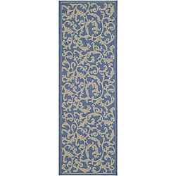 Indoor/ Outdoor Mayaguana Blue/ Natural Runner (2'4 x 6'7)