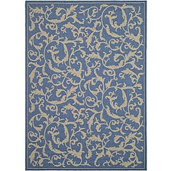 Indoor/ Outdoor Mayaguana Blue/ Natural Rug (4' x 5'7)