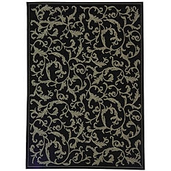 Indoor/ Outdoor Mayaguana Black/ Sand Rug (6'7 x 9'6)