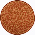 Indoor/ Outdoor Mayaguana Terracotta/ Natural Rug (6'7 Round)