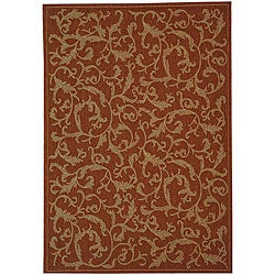 Indoor/ Outdoor Mayaguana Terracotta/ Natural Rug (6'7 x 9'6)