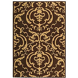 Safavieh Indoor/ Outdoor Bimini Chocolate/ Natural Rug (5'3 x 7'7)