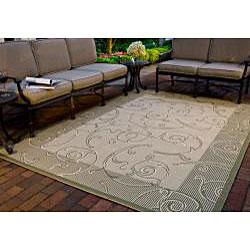 Safavieh Indoor/ Outdoor Oasis Natural/ Olive Rug (5'3 x 7'7)
