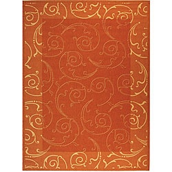 Indoor/ Outdoor Oasis Terracotta/ Natural Rug (9' x 12')