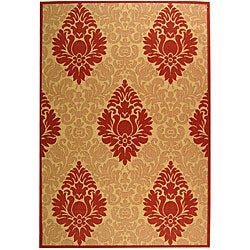 Indoor/ Outdoor St. Barts Natural/ Red Rug (5'3 x 7'7)