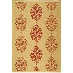 Safavieh Indoor/ Outdoor St. Martin Natural/ Red Rug (9' x 12')