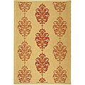 Indoor/ Outdoor St. Martin Natural/ Red Rug (9' x 12')