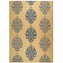 Indoor/ Outdoor St. Martin Natural/ Blue Rug (9' x 12')
