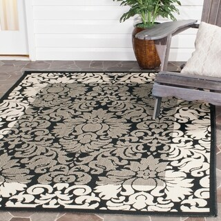 Safavieh Indoor/ Outdoor Kaii Black/ Sand Rug (6'7 x 9'6)