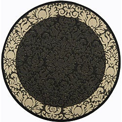 Safavieh Indoor/ Outdoor Kaii Black/ Sand Rug (6'7 Round)