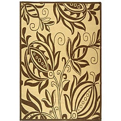 Indoor/ Outdoor Andros Natural/ Brown Rug (9' x 12')