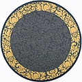 Indoor/ Outdoor Kaii Blue/ Natural Rug (6'7 Round)