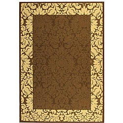 Indoor/ Outdoor Kaii Chocolate/ Natural Rug (6'7 x 9'6)