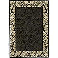 Indoor/ Outdoor Kaii Black/ Sand Rug (4' x 5'7)