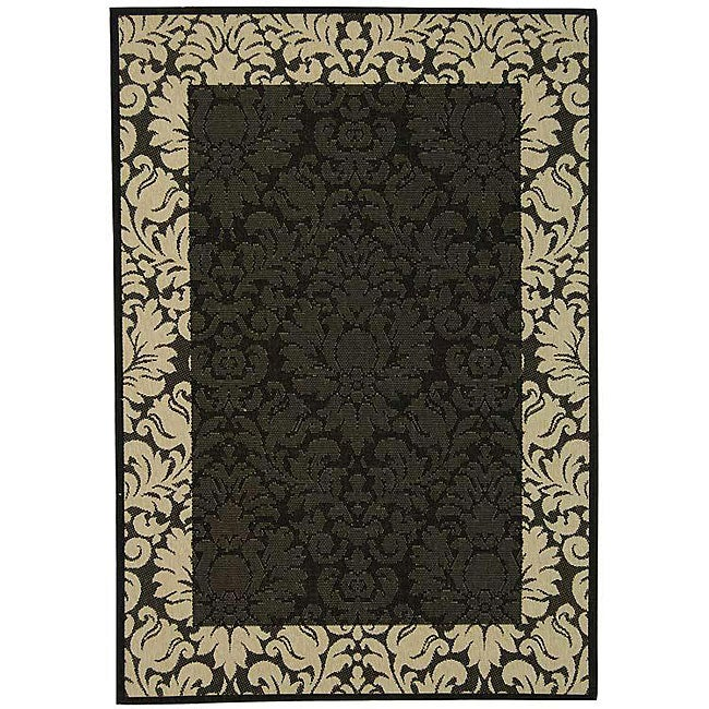 Safavieh Indoor/ Outdoor Kaii Black/ Sand Rug (9' x 12')