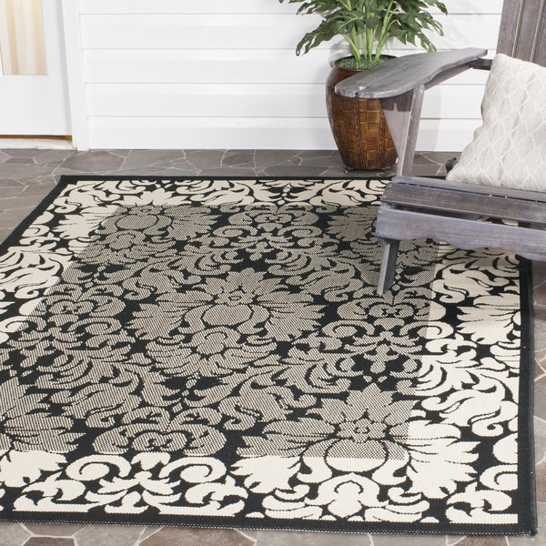 Safavieh Indoor/ Outdoor Kaii Black/ Sand Rug (9' x 12')