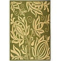 Indoor/ Outdoor Andros Olive/ Natural Rug (9' x 12')