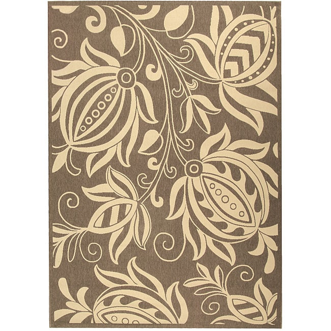 Safavieh Indoor/ Outdoor Andros Brown/ Natural Rug (9' x 12')