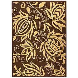 Indoor/ Outdoor Andros Chocolate/ Natural Rug (9' x 12')