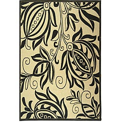 Indoor/ Outdoor Andros Sand/ Black Rug (9' x 12')