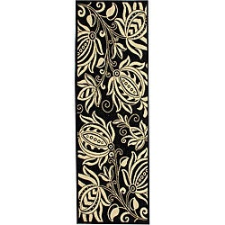 Indoor/ Outdoor Andros Black/ Sand Runner (2'4 x 6'7)